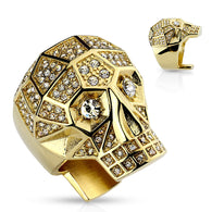 Gold Crystal Paved Faceted Large Skull Biker Stainless Steel Rings