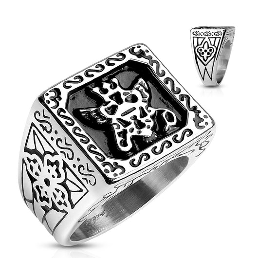 Royal Empire Shield Cast 316L Stainless Steel Rings Band