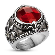 Antiquated Fleur De Lis Red CZ 316L Stainless Steel Rings