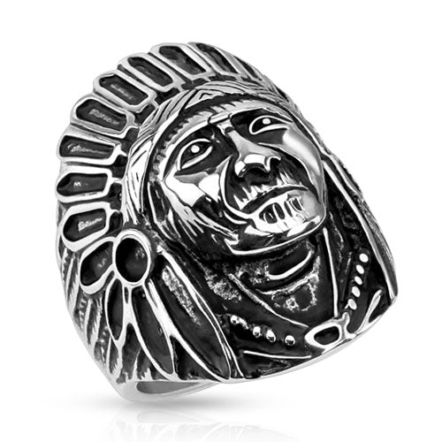 Apache Indian Chief Wide Cast Shield 316L Stainless Steel Rings Band