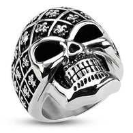Fleur De Lis Pattern Decorated Skull Wide Cast Biker Stainless Steel Rings
