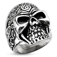 Decorated Day of the Dead Sugar Skull Biker Stainless Steel Rings