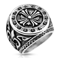 Celtic Cross Black CZ Border with Fleur De Lis Sides Biker Stainless Steel Rings