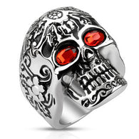 Day of The Dead Skull with Red CZ Eyes Biker Stainless Steel Rings