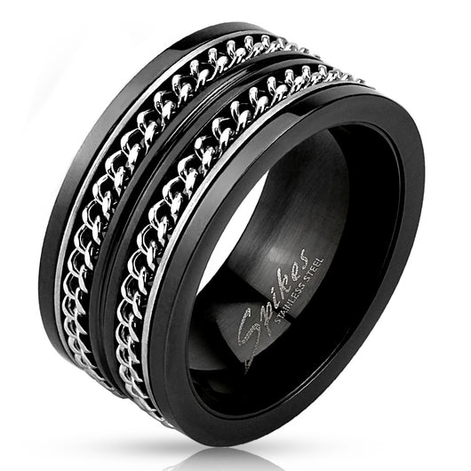 Layered Cuban Chains Spinner Stainless Steel Rings