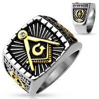 Gold And Burnish Steel 2-Tone Square Face Masonic Stainless Steel Rings