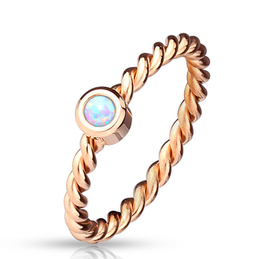Opal Set Braided Rose Gold Stainless Steel Rings