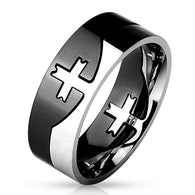 Cross Center Black Titanium Steel 2-Tone Puzzle  Stainless Steel Rings