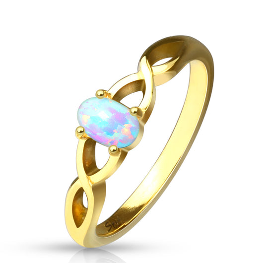 Oval Opal Set Braided Casted Gold Stainless Steel Rings