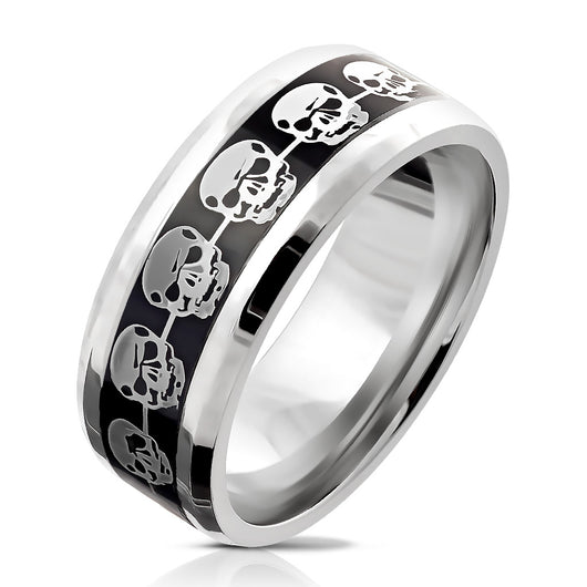 Silver Skulls Repeating on Black Background Inlay Stainless Steel Ring