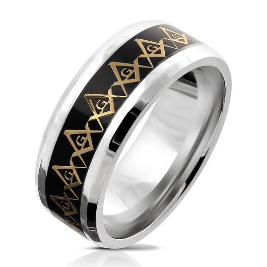 Masonic Compass Stainless Steel Ring Band