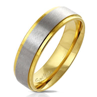 Gold IP Stepped Edge with Brushed Steel Center Stainless Steel Ring