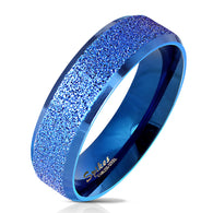 Blue IP Sandblasted Center Polished Edge Stainless Steel Ring