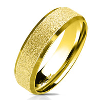 Gold IP Sandblasted Center Polished Edge Stainless Steel Ring