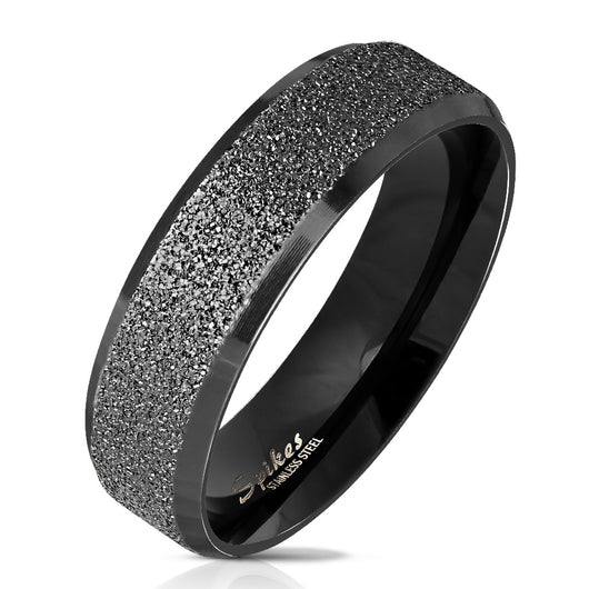 Black IP Sandblasted Center Polished Edge Stainless Steel Ring