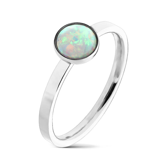 Round Cabochon Opal Set 316L Stainless Steel Rings