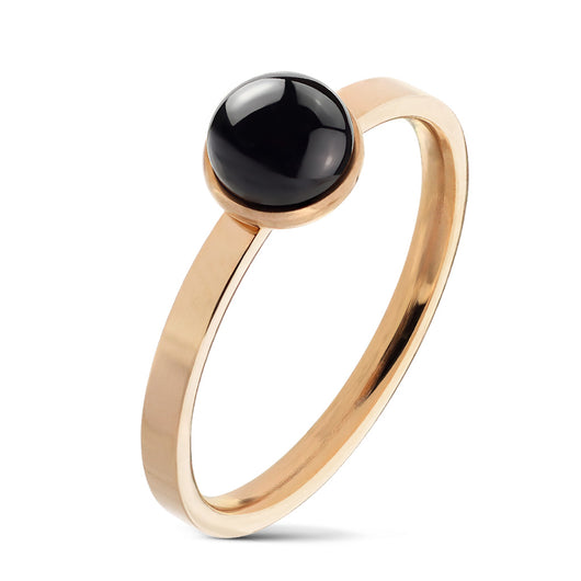 Black Agate Set PVD Rose Gold Over 316L Stainless Steel Rings