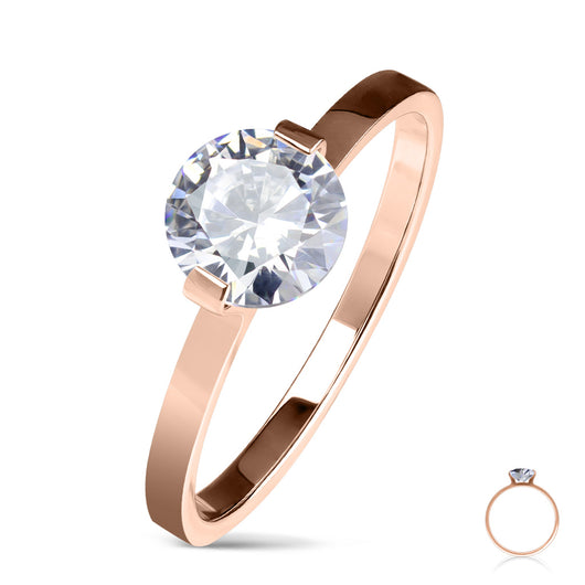 Round Solitaire CZ Set Rose Gold Wedding Engagement Ring