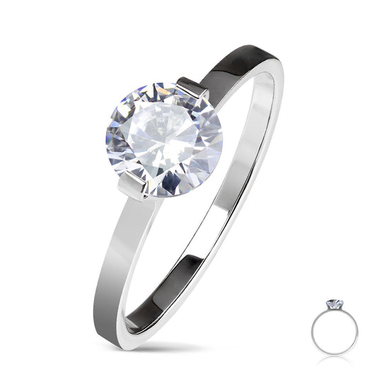 Round Solitaire CZ Set Stainless Steel Wedding Engagement Ring