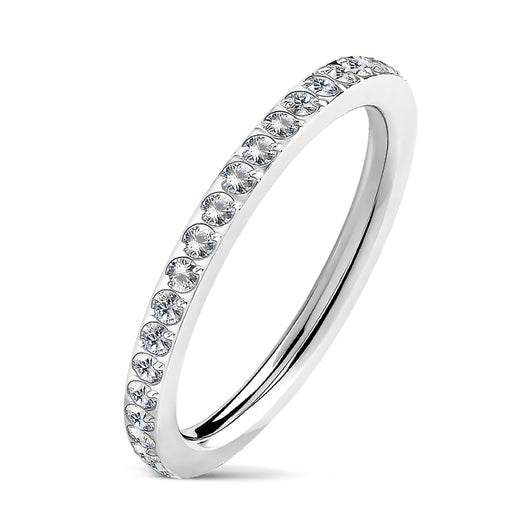 CZ Paved CNC Machine Set Stackable Wedding Engagement Ring