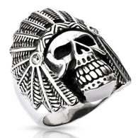 Apache Death Skull Wide Cast Shield 316L Stainless Steel Rings Band
