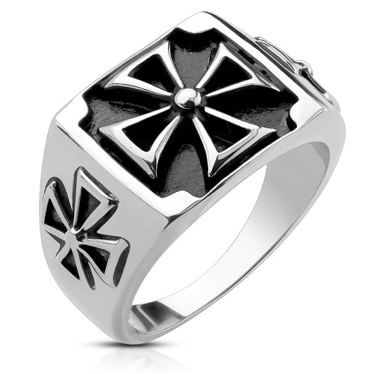 Triple Iron Cross Cast Stainless Steel Rings