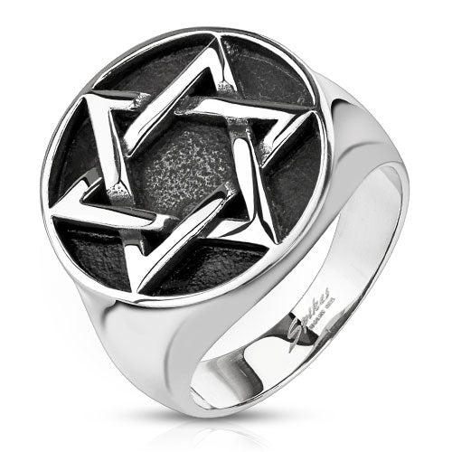 Star of David Medallion Cast Stainless Steel Rings