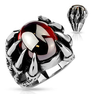 Dragon Claws Set Red Oval Gem Biker Stainless Steel Rings