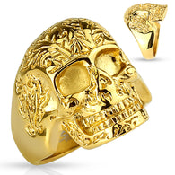 Gold IP Floral Pattern Skull Biker Stainless Steel Rings