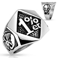1%er with Skulls on Sides Stainless Steel Rings