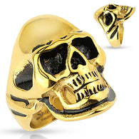 Gold and Black Skull Biker Stainless Steel Rings