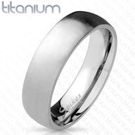 Classic Dome Solid Titanium Rings with Brushed Finish Surface