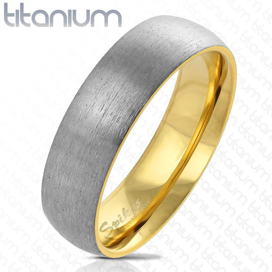Dome Two Tone Gold IP Brushed Finished Titanium Ring Band