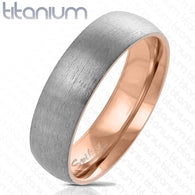Two Tone Rose Gold IP Brushed Finished Dome Titanium Ring Band