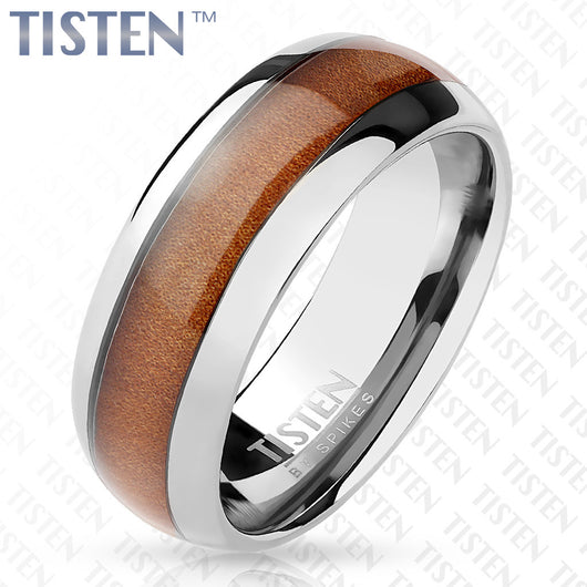Wood Inlay Classic Dome Tungsten Titanium Alloy TISTEN Rings