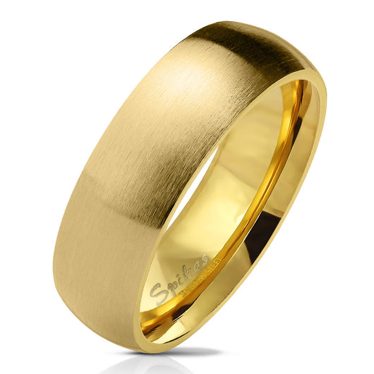Matte Finish Surface Classic Dome Gold PVD Stainless Steel Band Rings
