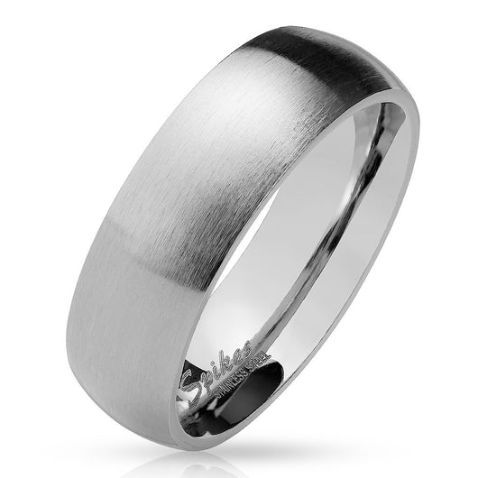 Matte Finish Surface Classic Dome Stainless Steel Band Rings