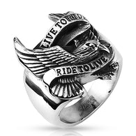 Biker Eagle 'Live to Ride Ride to Live' Wide Stainless Steel Rings