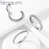 Solid Titanium CZ Lined Hinged Segment Hoop Rings Tragus Ear Cartilage