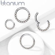 Solid Titanium CZ Lined Hinged Segment Hoop Rings Nose Septum Ear Cartilage