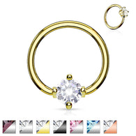 Prong Set Round CZ Surgical Steel Captive Bead Ring
