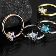 Prong Set Star CZ Surgical Steel Captive Bead Ring