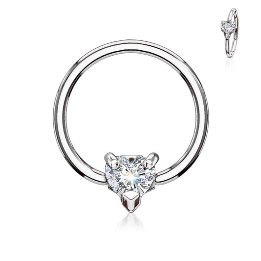 Multi Directional CZ Heart 16G Captive Bead Ring Septum Tragus