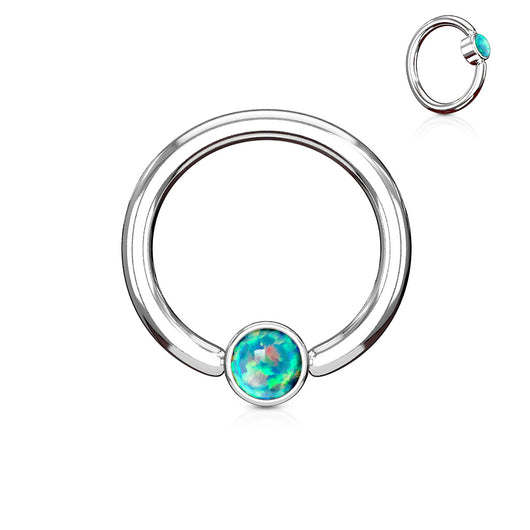Opal Set Round Flat Cylinder Surgical Steel Captive Hoop Ring