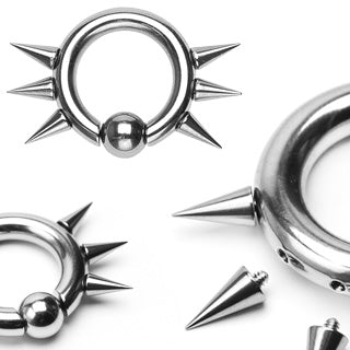 Easy Snap-In Captive Bead Ring w/ 6 Internally Threaded Spikes Captive Bead Ring Lobe