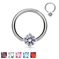 Solitaire CZ Stone 316L Surgical Steel Captive Bead Ring