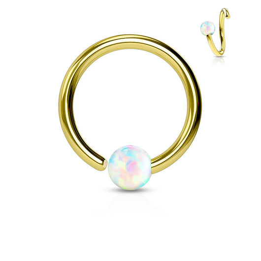 Gold Plated White Opal Ball Fix One Side Hoop Ring Snug Helix Daith Tragus