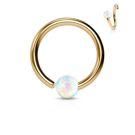White Opal Ball Fix One Side Rose Gold Hoop Ring Snug Helix Daith Tragus