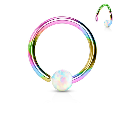 14G Rainbow Titanium White Opal Ball Fix One Side Captive Ring Snug Helix Daith Tragus