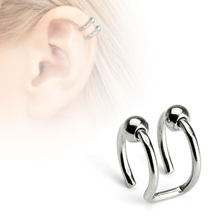 Double Beads Ring Fake Non Piercing Helix Cuff Earring